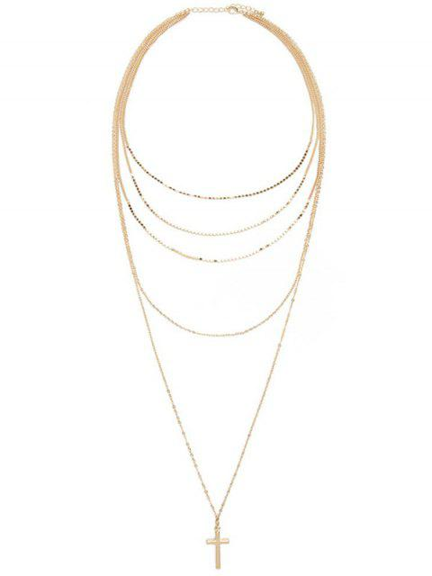 shops Layered Cross Adorn Pendant Sweater Chain - GOLDEN  Mobile