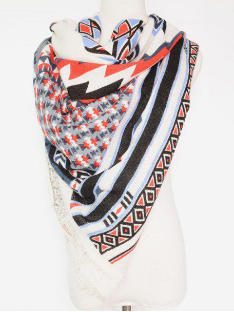 Pashmina Motif Géométrique Style Bohémien - Blanc  Mobile