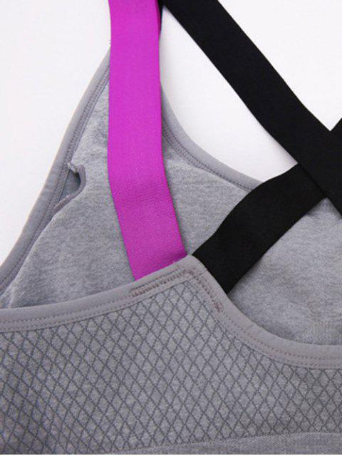shop Criss Cross Wire Free Sports Bra - GRAY S Mobile