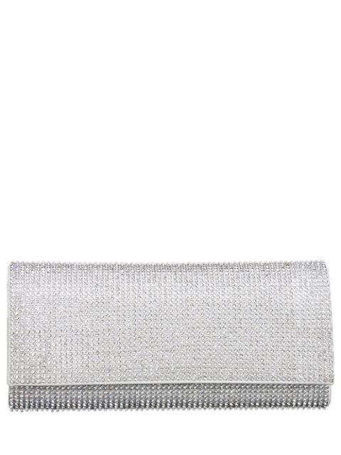 latest Rhinestone Flap Evening Bag - SILVER  Mobile