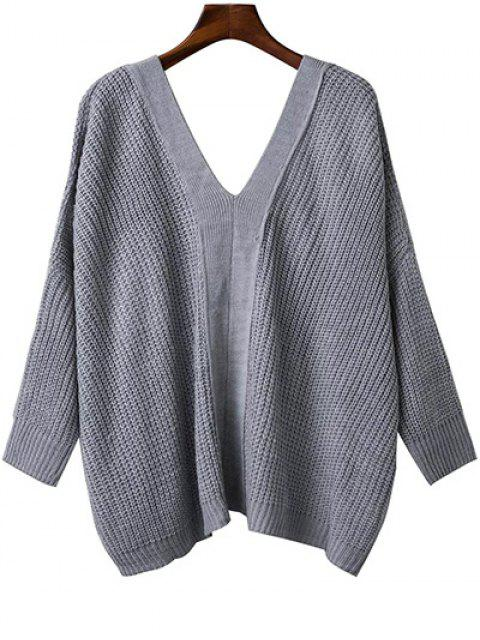 women's Back Lace Up Loose Fitting V Neck Sweater - GRAY ONE SIZE Mobile