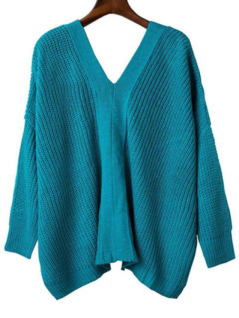 ladies Back Lace Up Loose Fitting V Neck Sweater - LAKE BLUE ONE SIZE Mobile