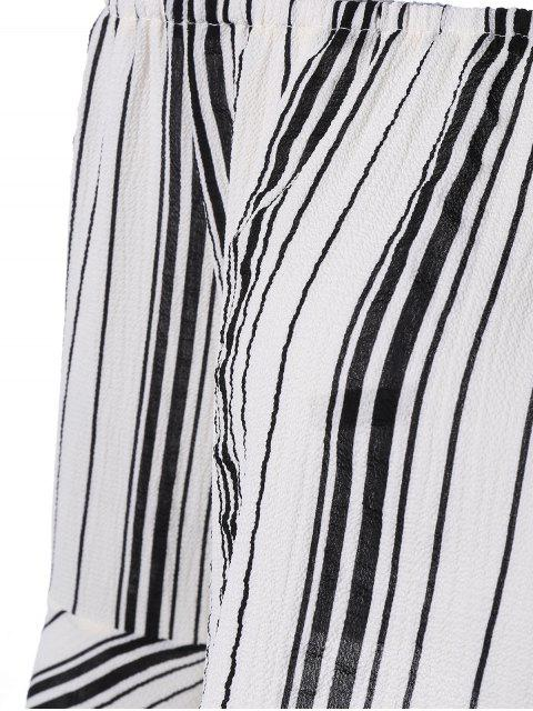 fancy Striped Off The Shoulder Cropped Blouse - WHITE M Mobile