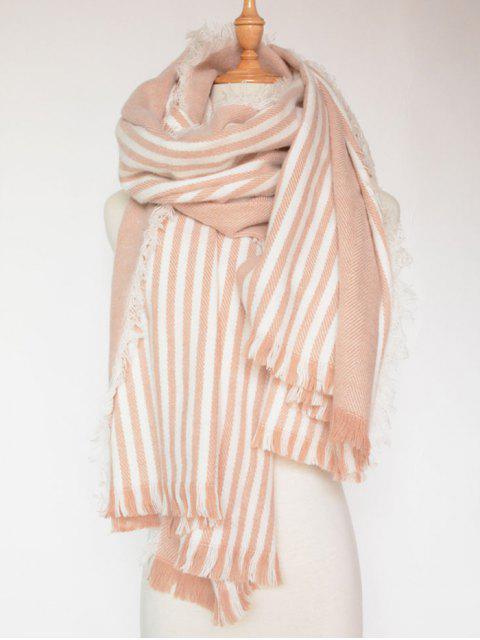 womens Stripe Fringed Shawl Wrap Scarf - PINK  Mobile
