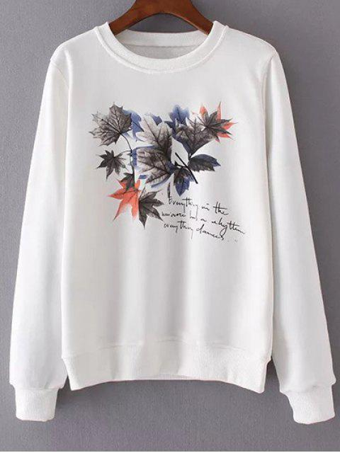 La hoja de arce cuello redondo de la camiseta de impresión - Blanco M Mobile