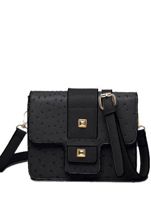 unique Double Rivet Magnetic Closure Embossing Crossbody Bag - BLACK  Mobile