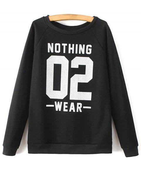 Round Neck Nombre Imprimer Sweatshirt - Noir M Mobile