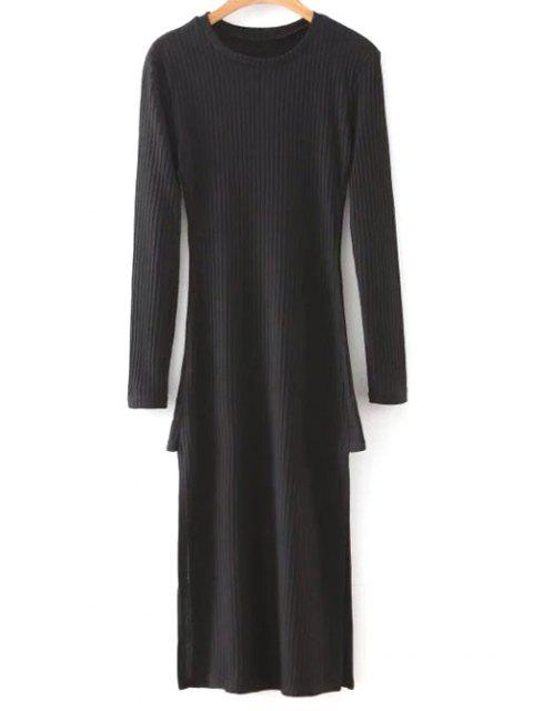 buy Side Slit Round Neck Long Sleeve Sweater Dress - BLACK M Mobile