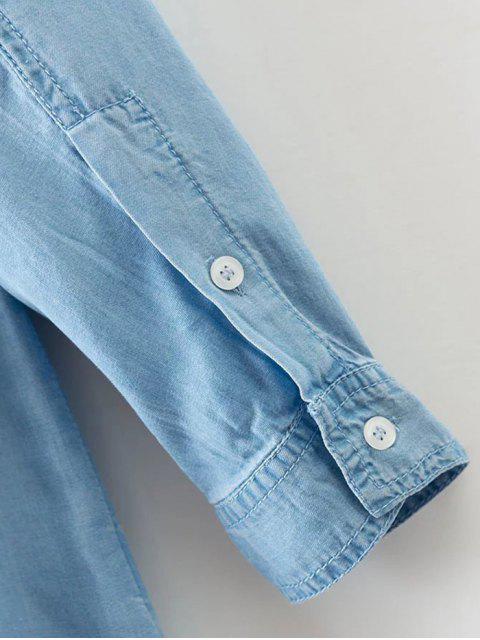 unique Pockets Long Sleeve Denim Shirt Dress - LIGHT BLUE M Mobile