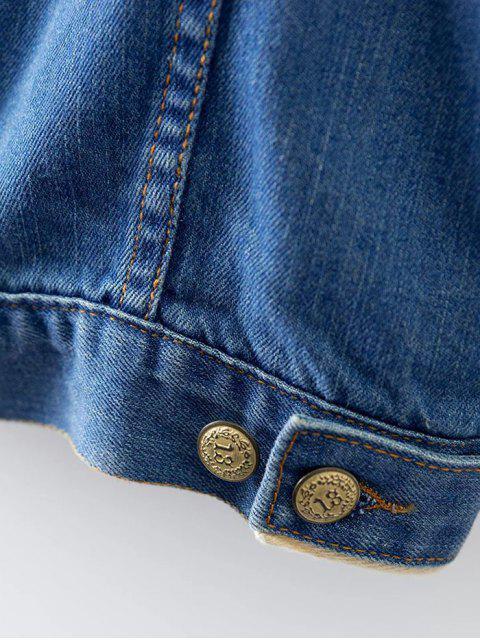chic Turn-Down Collar Ripped Denim Coat - DENIM BLUE S Mobile