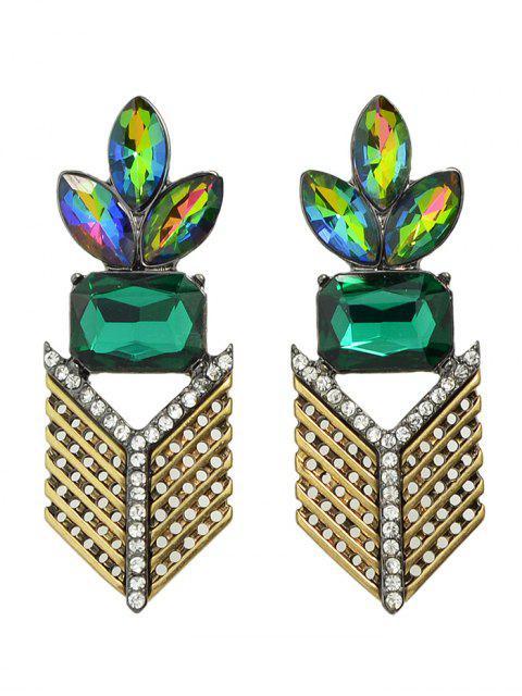 Pendientes de la hoja geométrica de imitación de cristal del Rhinestone - Dorado  Mobile