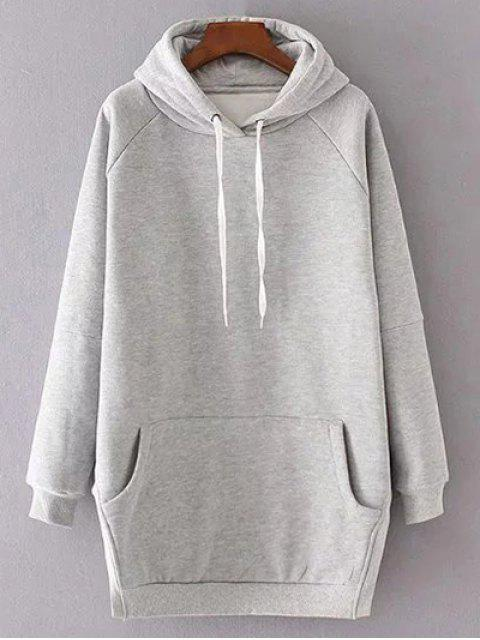 lady Solid Color Side Slit Drawstring Hoodie - LIGHT GRAY M Mobile