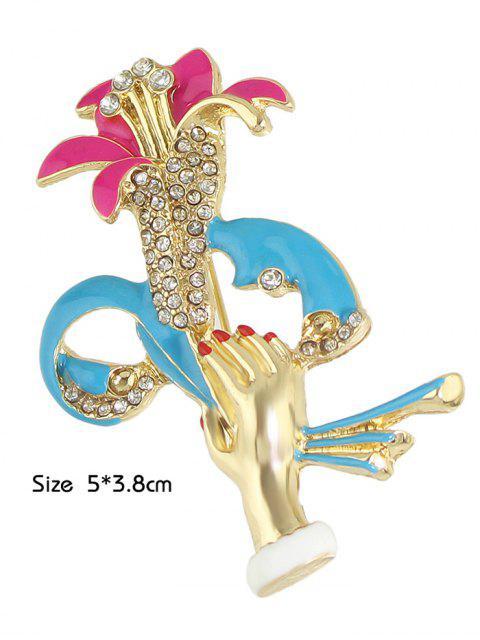 best Hand Lift Floral Shape Rhinestone Brooch -   Mobile