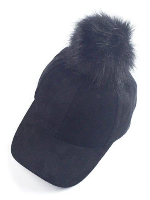 online Big Fuzzy Ball Faux Suede Baseball Hat -   Mobile