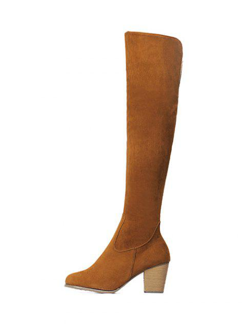 buy Flock Zipper Chunky Heel Thing High Boots -   Mobile
