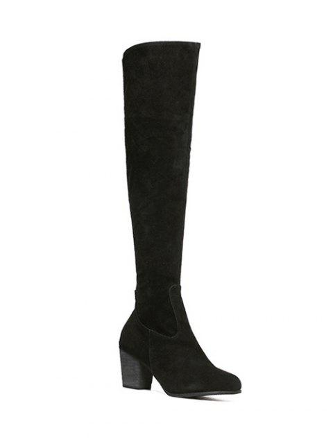 lady Flock Zipper Chunky Heel Thing High Boots -   Mobile