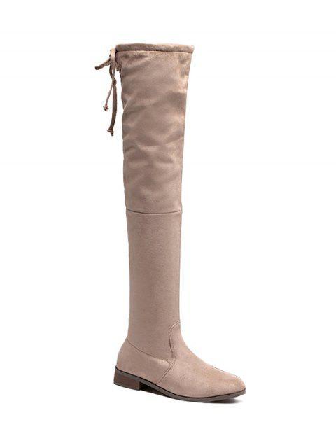 shops Flat Heel Flock Zipper Thing High Boots -   Mobile