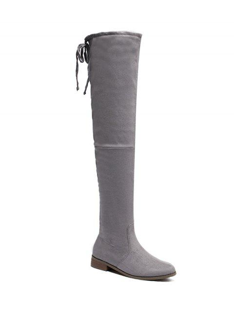 affordable Flat Heel Flock Zipper Thing High Boots - GRAY 38 Mobile