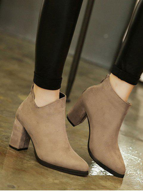 women's Pointed Toe Chunky Heel Flock Ankle Boots -   Mobile