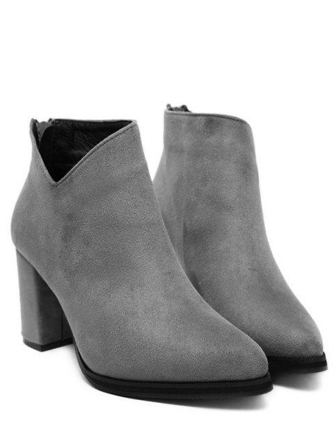 hot Pointed Toe Chunky Heel Flock Ankle Boots -   Mobile