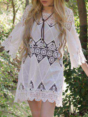 Openwork Appliqued White Cover-Up - White