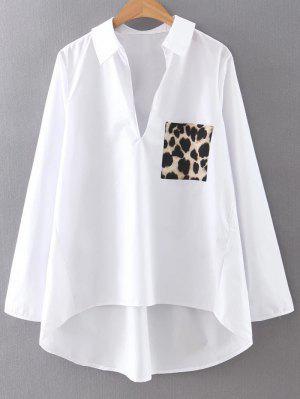 Alto Baixo Da Cópia Do Leopardo Camisa De Manga Comprida Collar Shirt - Branco L