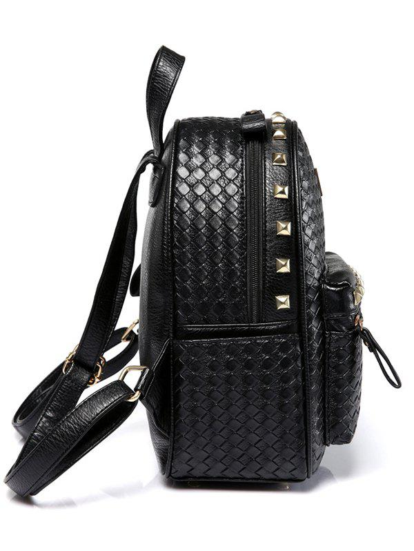 Woven Pattern Rivets Zippers Backpack