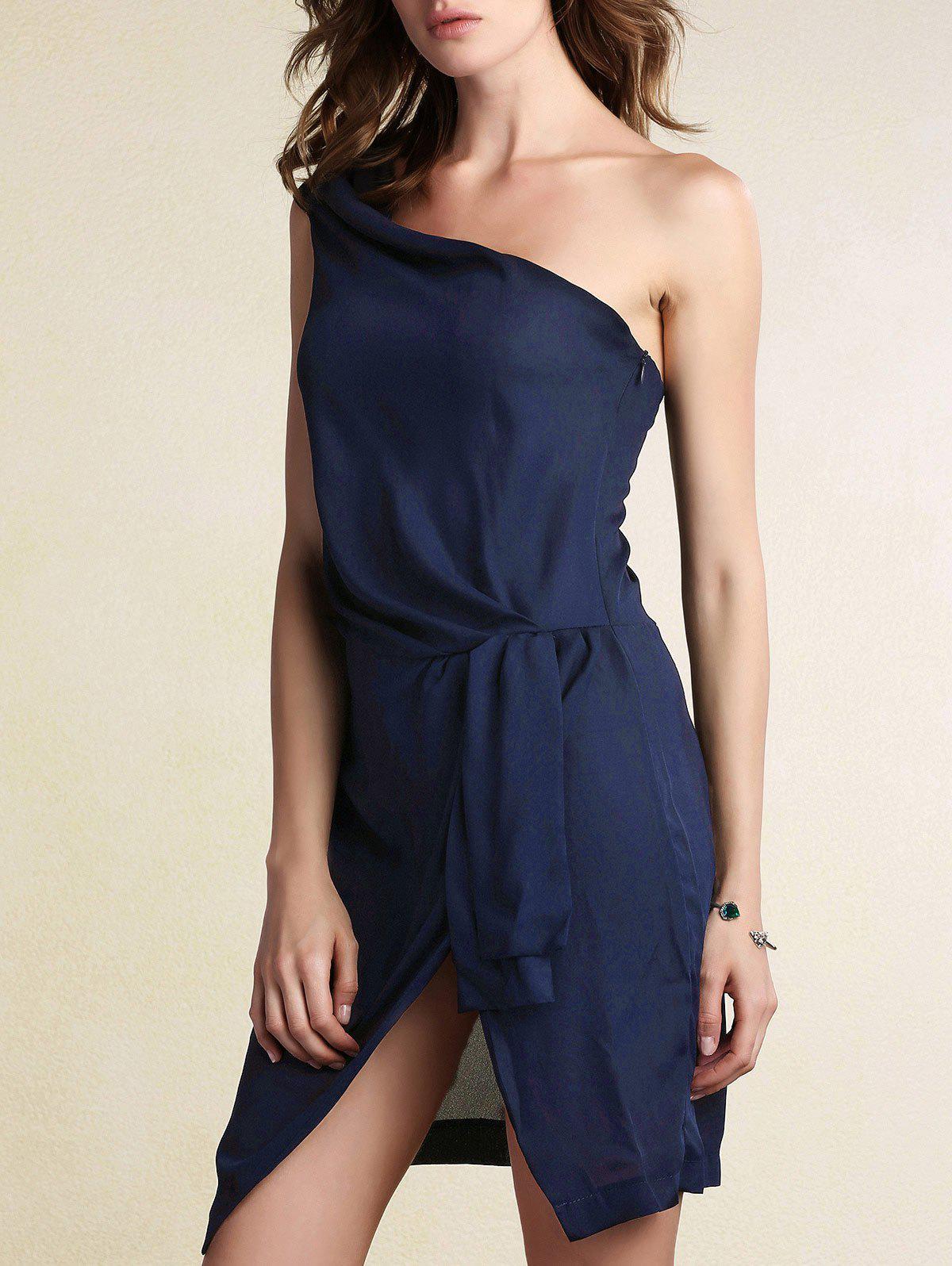 Black One Shoulder Side Slit Dress 182004304