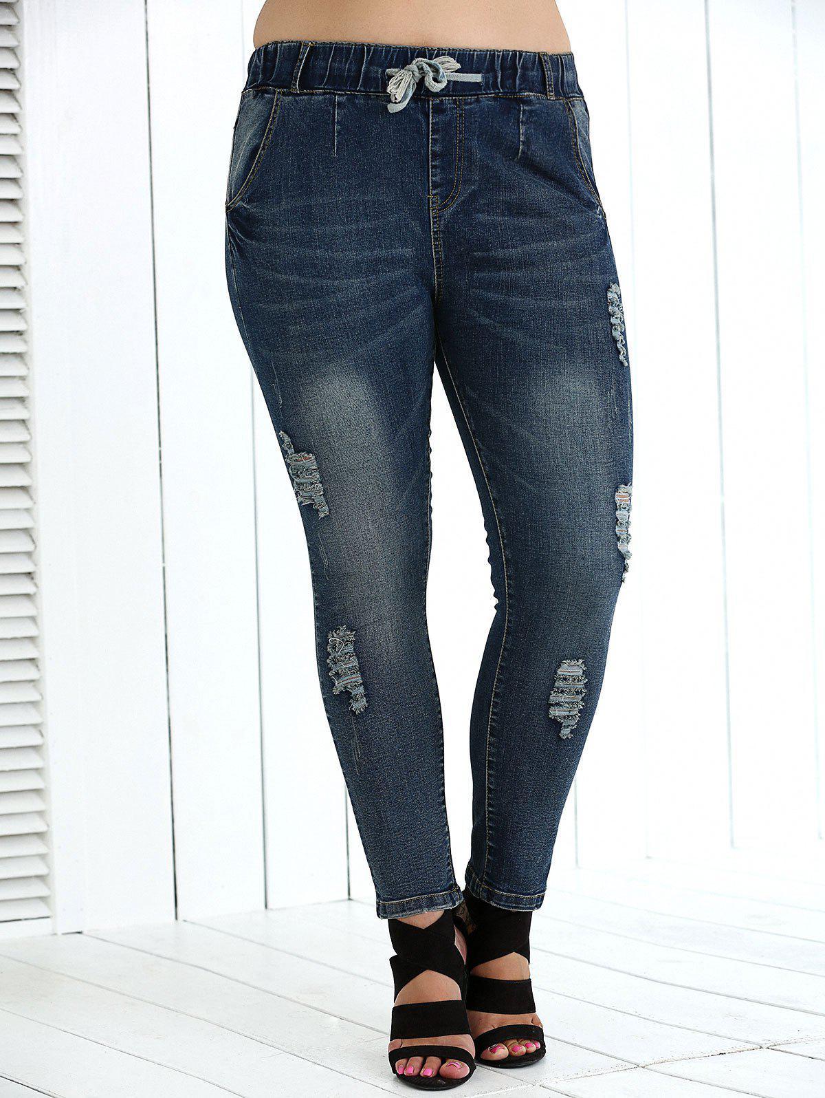 Drawstring Plus Size High Waist Distressed Jeans 192518504