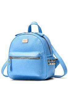 Buy Metal Rivets Zippers PU Leather Backpack - AZURE
