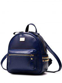 Buy Metal Rivets Zippers PU Leather Backpack - DEEP BLUE