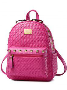 Woven Pattern Rivets Zippers Backpack - Rose Madder