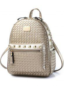 Woven Pattern Rivets Zippers Backpack - Golden