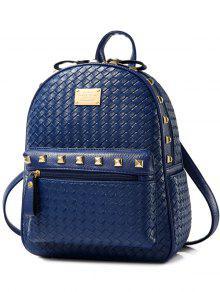Woven Pattern Rivets Zippers Backpack - Deep Blue