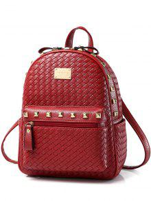 Woven Pattern Rivets Zippers Backpack - Red