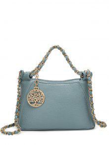 حقيبة توتس بسلسلة معدنية بجلد اصطناعي - أزرق