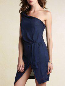 Negro Lateral De Un Hombro Vestido De Corte - Azul Purpúreo S