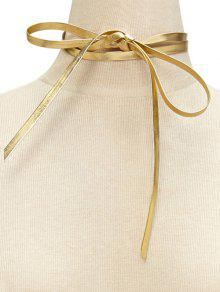 Artificial Leather Velvet Bowknot Choker Necklace - Golden