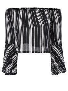 Buy Striped Shoulder Cropped Blouse - BLACK S