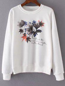 Imprimer Neck Maple Leaf Round Sweatshirt - Blanc M