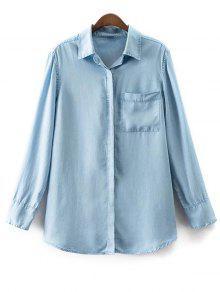Bolsillo De La Camisa De Cuello De Manga Larga Camisa Vaquera - Azul Claro L
