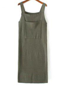 Buy Back Slit Front Pocket Tank Sweater Dress - ARMY GREEN ONE SIZE