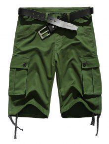 سحاب مستقيم جيوب الساق جيوب مزين الرباط تصميم السراويل - الجيش الأخضر S