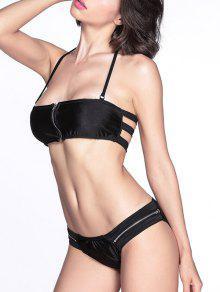 Cremallera Frontal Del Bikini Set - Negro S
