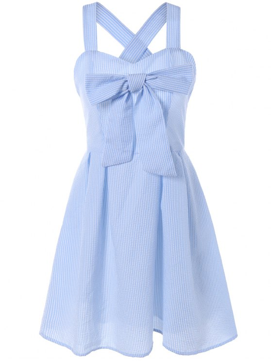 Resultado de imagem para Striped Bowknot Straps Dress - Light Blue