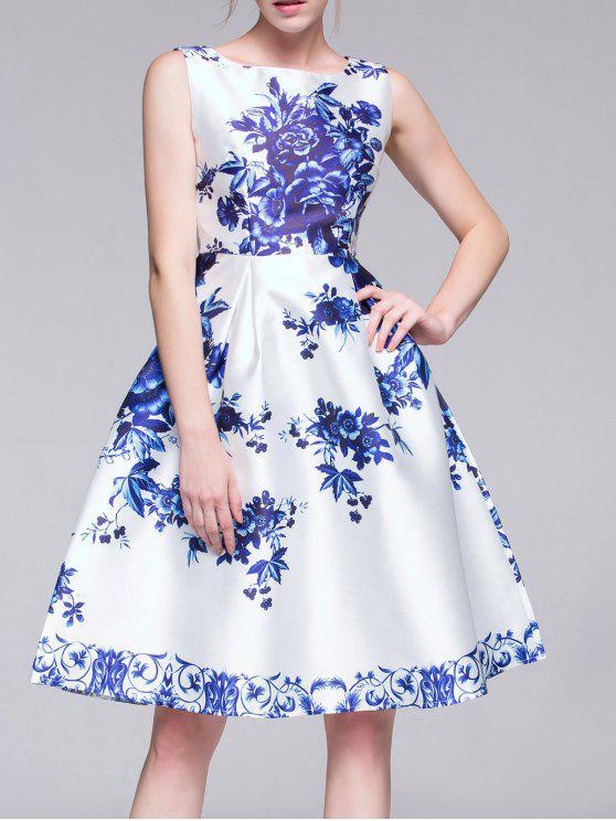 unique Flared Porcelain Dress - BLUE AND WHITE M