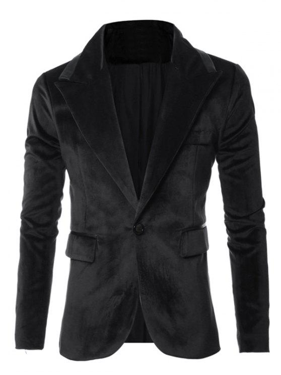 Piping Couro Design One-Button Long Sleeve Velvet Blazer - Preto M