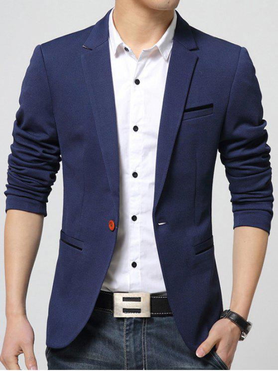 Pocket revers Manches longues Breast One-Button Blazer - Bleu L