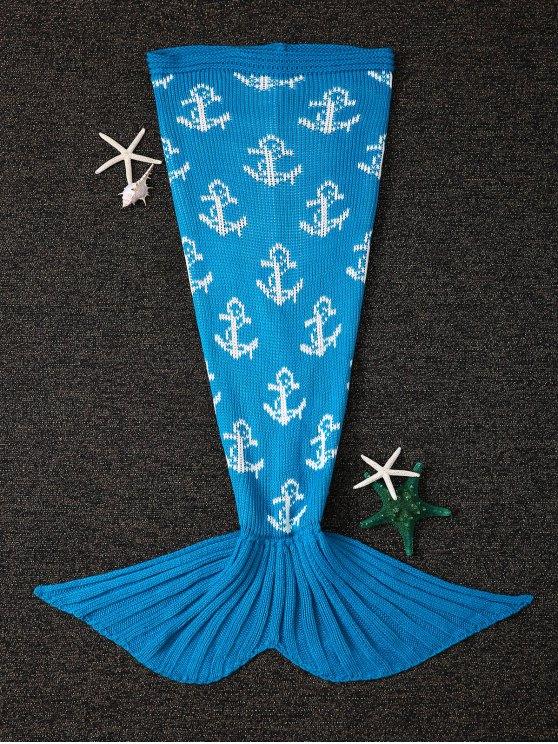 الدفء مرساة تصميم الحياكة حورية البحر الذيل شكل بطانية - أزرق