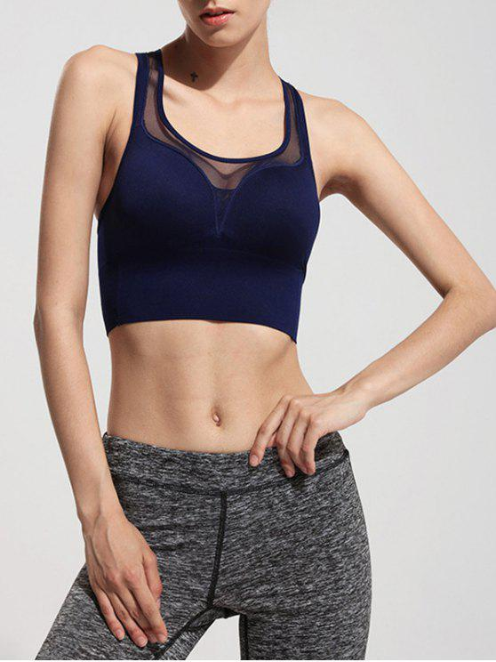 Racerback Mesh See Through Sports Bra - Bleu Foncé XL